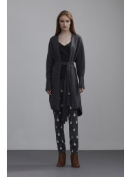 THE DREAMER LABEL - Cable Back Long Cardigan Charcoal