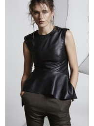 ONCE WAS - Gauntlet Leather Peplum Top Black