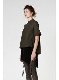 ONCE WAS - Kestral Lace Up Funnel Neck Wool Tee Grove