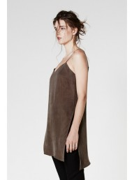 ONCE WAS - Fledgling Long Line Side Split Cami in Khaki