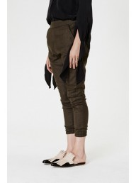ONCE WAS - Peregrine Wool Low Slung Pant in Grove