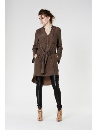 ONCE WAS - Mews Extended Pocket Deep Cuff Shirt Dress in Grove