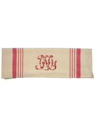 Linen with Red Stripe Monogram Tea Towel - 79cm x 60cm
