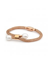 IKECHO - Rose gold plate mesh adjustable bracelet with stainless steel clasp featuring 10-10.5mm white Freshwater Pearls