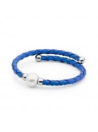 IKECHO - Royal blue leather Sterling silver steel 10-11mm Freshwater Pearl bracelet