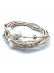 IKECHO -  7 row cream leather 6.5-13.5mm off round and baroque Freshwater Pearl bracelet stainless steel 19cm