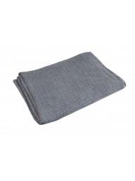 Blue Grey Linen Waffle Throw - 170 cm L x 130 cm W