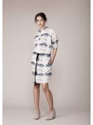 BINNY - 'Bream' Linen Blend Shirt Dress - Fish