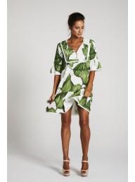 BINNY - 'Sugar & Lime' Ruffle Sleeve Swing Dress - Palm