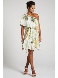 BINNY - 'Amazon' Cotton Silk One Shoulder Dress - Forest Fruit