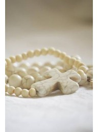 MAISON CARREE - Gypsum Stone Bracelet with Large Cross