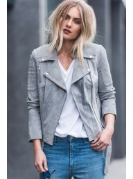 ENA PELLY - Classic Biker Jacket - Grey