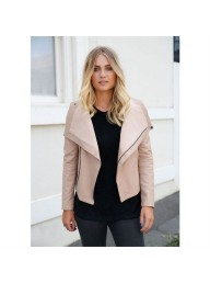 ENA PELLY - Nude Wrap Leather Jacket