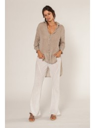 ESTILO EMPORIO - Button Down Tail Shirt - Natural