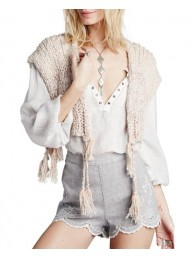 FREE PEOPLE - Tassels Away Knit Shrug - Cream
