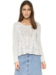 FREE PEOPLE - Cross Cable Pullover - Ivory Combo