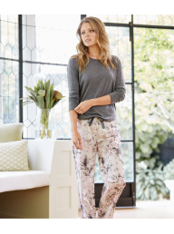 GINGERLILLY - Imogen - Charcoal Marle Top with Pink Cotton Pant