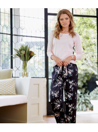 GINGERLILLY - Penny - Pink Cotton Top with Cherry Blossom Satin Pant