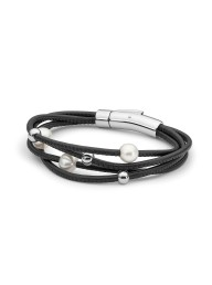 'IKECHO' - 4 Rows Black Leather Freshwater Pearl with S/Steel