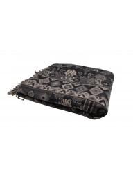 Black Jacquard Throw - 150cm  L  x 125cm W