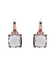 SYBELLA - Smoky Quartz & Cubic Zirconia Earrings on Rose Gold Hook