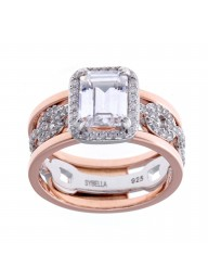 SYBELLA -Silver & Rose Gold Cubic Zirconia Dress Ring
