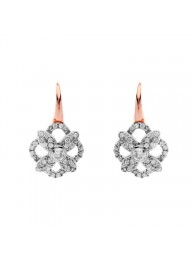 SYBELLA - Two Tone Rose Gold Plate & Rhodium Cubic Zirconia Flower Earrings