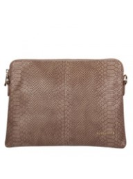 ELMS + KING - Bowery Clutch - Taupe Snake