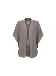 YAYA - Round Shape Kimono Sweater - Greyish Green