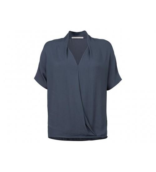 YAYA - Fabric Mix Drape Top - Blueish Grey